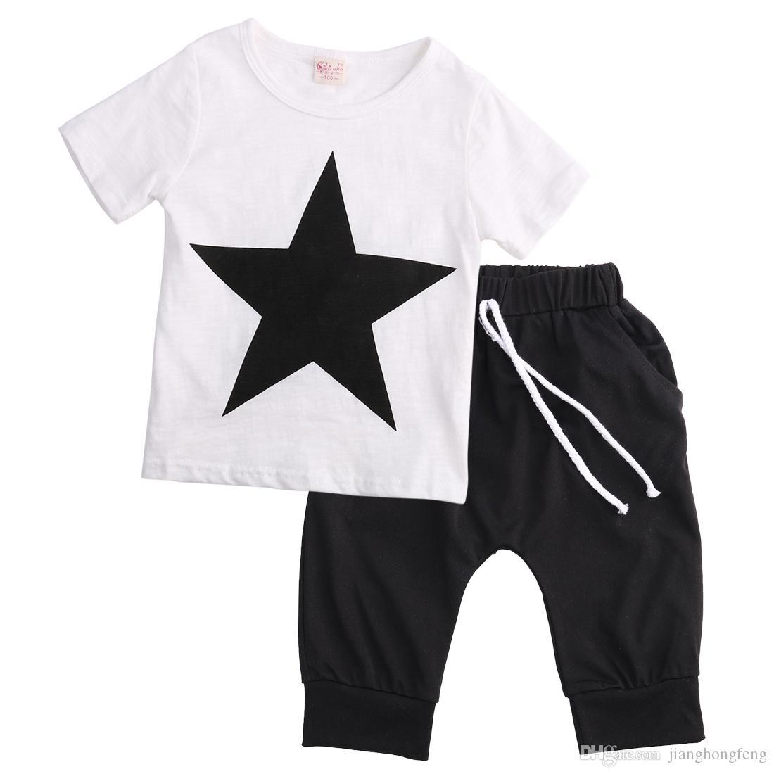 Свободная перевозка груза вскользь малышей младенца мальчиков Camo Denim Outfit Топы футболки Брюки Одежда Set