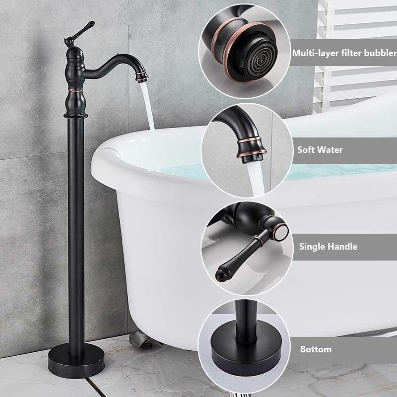 Schwarz Bronze Badewanne Dusche Wasserhahn Boden stehende Badewanne Auslauf Dusche Einhand-Mischbatterie Badezimmer Dusche Wasserhahn Mischer