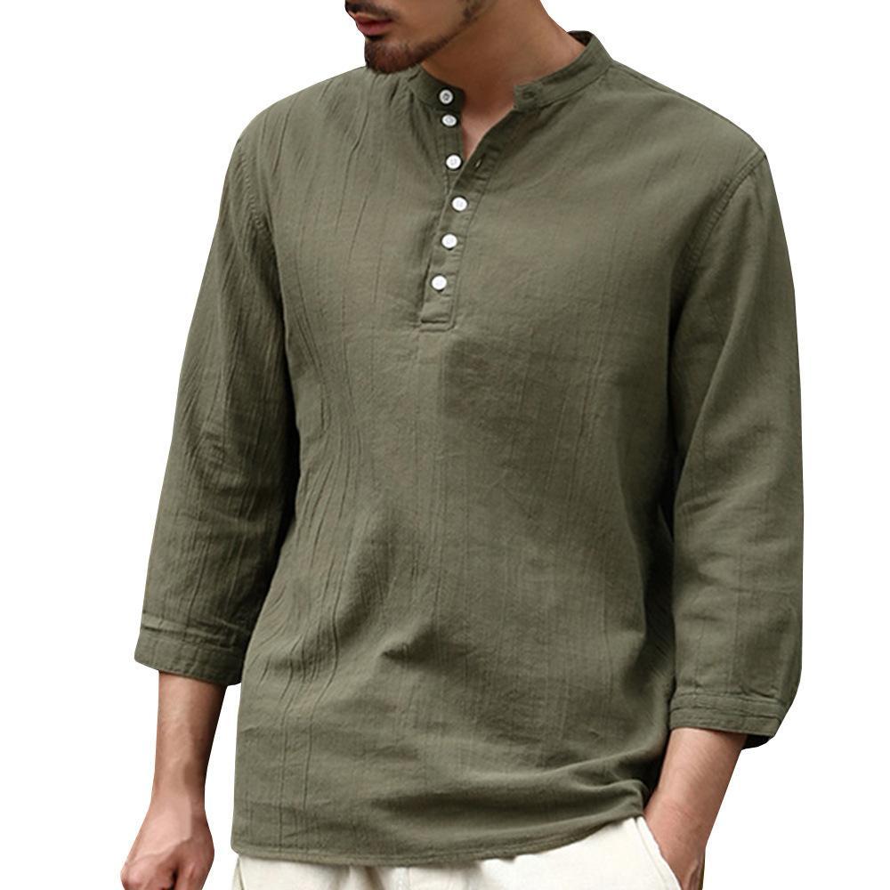 Al por mayor-Hombres Camisa de moda hombre 2019 Casual color sólido media manga V del lazo de la hebilla Tendencia Hombre camisa de algodón