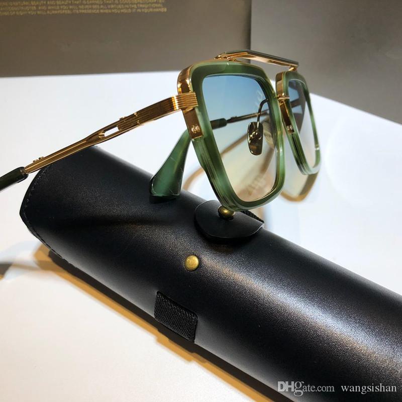 Estilo Nuevas gafas de sol con Moda Metal Vintage Top Plaza Hombres Marco Protección al aire libre Eyewear 400 Lens UV Siete VENDIDO caso por dlwhc