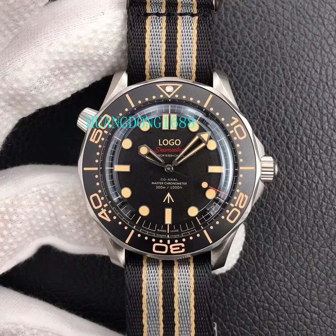 VS nuovo prodotto Haima serie 007, titanio caso 42 millimetri di larghezza, anello di immersioni in alluminio nero, 300m orologio da uomo resistente all'acqua