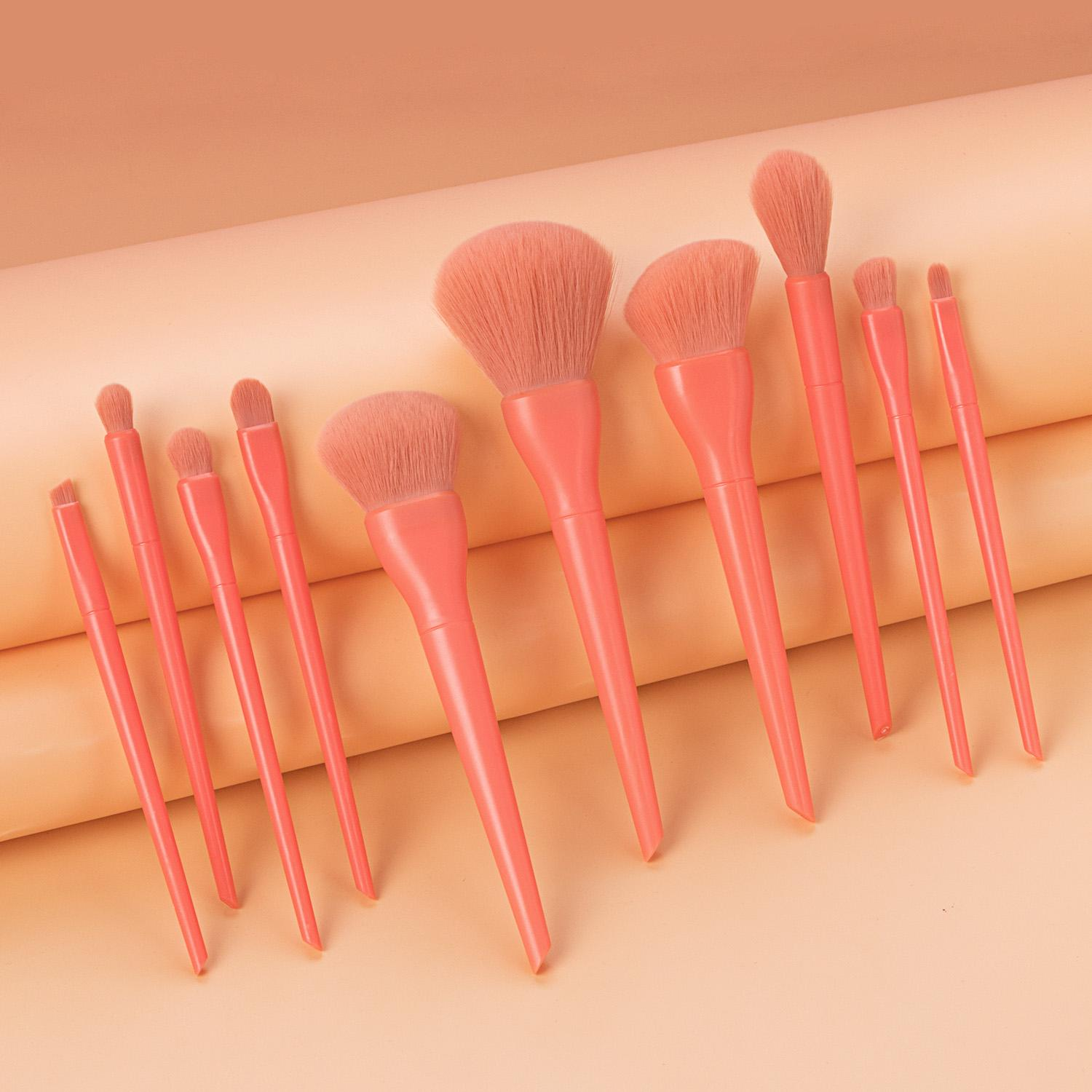 10 PCS Makeup Brush kits sets Beauty Tools Pink Soft brush head Candy red fantasy girl High light powder powder eye shadow brush make up