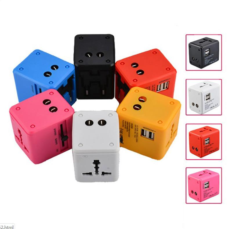 All in One Universal global International Plug Adapter Dual USB Port World Travel AC Power Charger Adaptor with AU US UK EU Plug