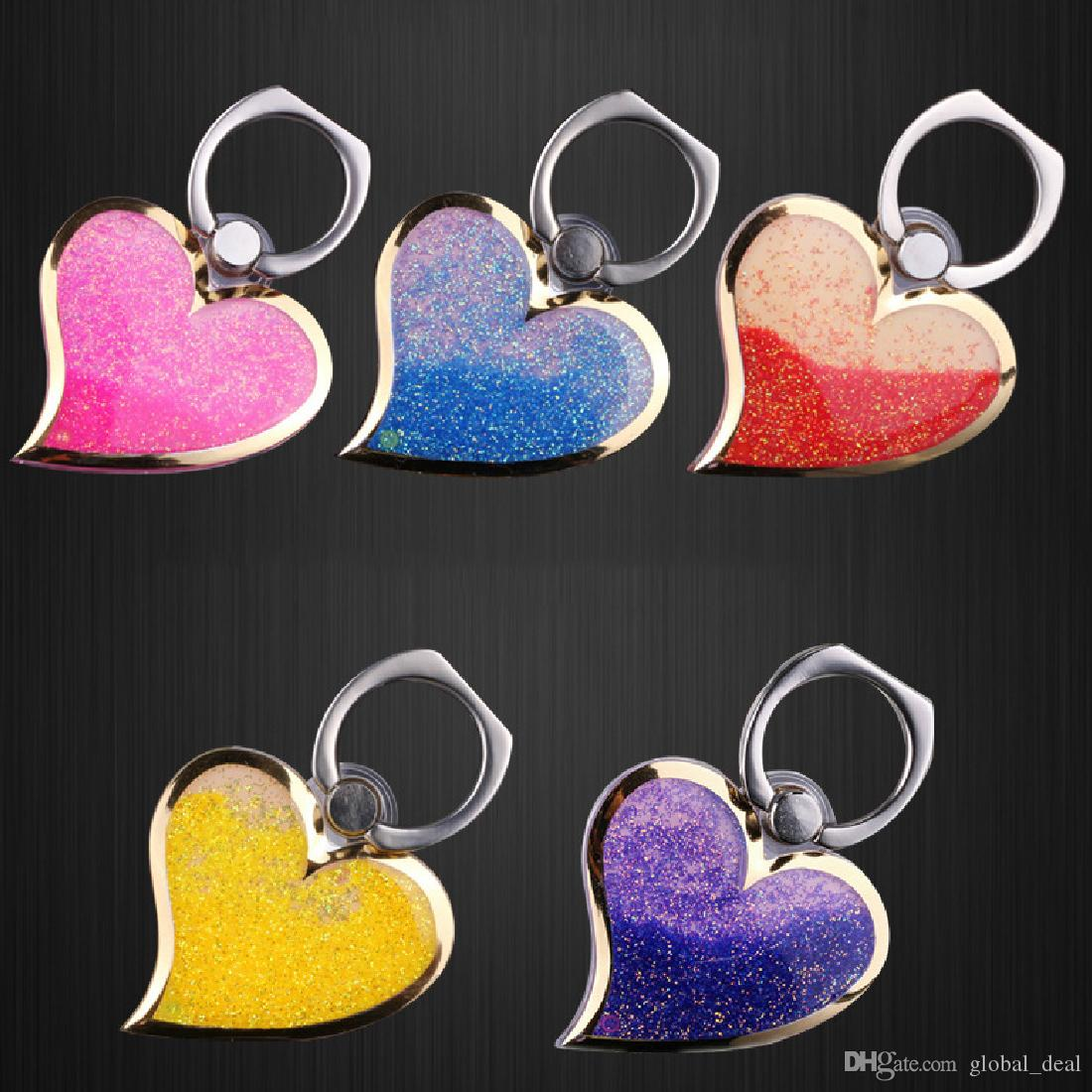 Rotating 360 Liquid Finger Grip Bling Glitter Heart Universal Cell Phone Luxury Ring Hook Holder Stand For iphone 6 7 8 Samsung tablet pc