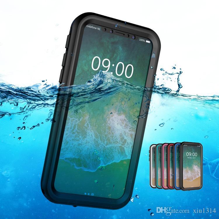 IP68 iPhone Xs Max Xr 7 8 Artı 6s 6 Darbeye Yüzme Kapak Samsung için Galaxy Note 9 8 S9 S8 için su geçirmez Dalış Telefon Kılıfı
