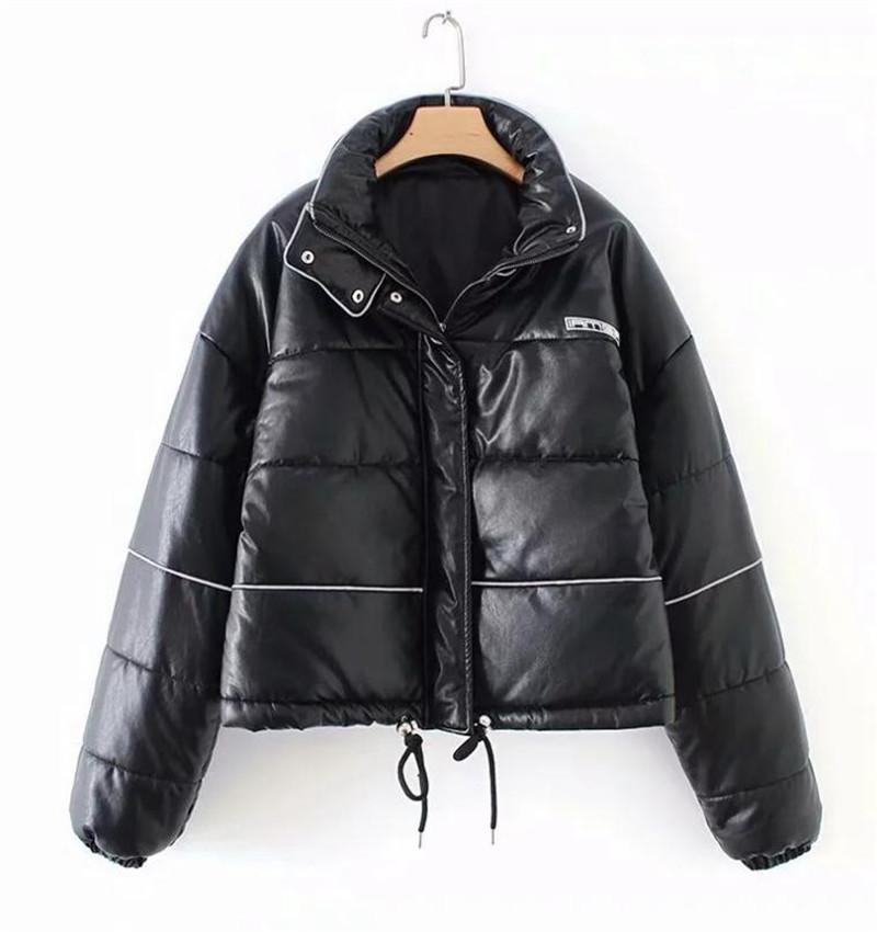 Frauen Down Parkas Europäische und amerikanische Mode Vertikale Kragen Reißverschluss Baumwolljacke-Mäntel Lose Kurze Schwarz Herbst Winter Warm