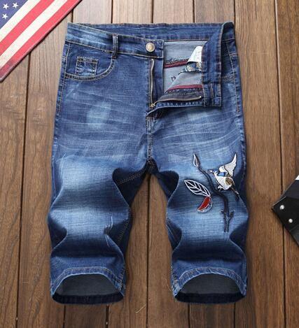 Дизайнер вышивка шаблон мужская мода джинсы шорты проблемных разорвал мужские джинсы мотоцикл байкер джинсы причинно-следственная отверстие джинсовые шорты брюки T9#