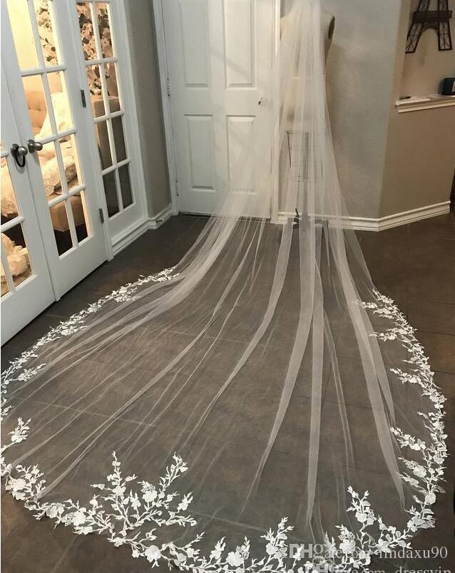 3 متر طويل الحجاب الرباط appliqued طول الكاتدرائية appliqued الأبيض العاج الزفاف الحجاب العروس الحجاب الزفاف الشعر مع مشط الشحن جديد وصول