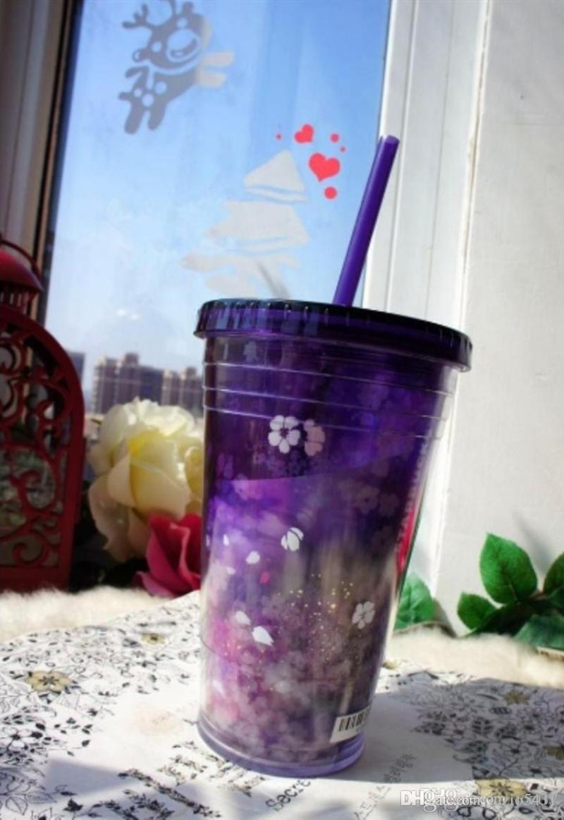 أصيلة ستاربكس ليلة ساكورا القش فنجان القهوة 16OZ إزهار الكرز الأرجواني القدح الماء البارد في السيارة خارج الباب المحمولة كوب يرافق