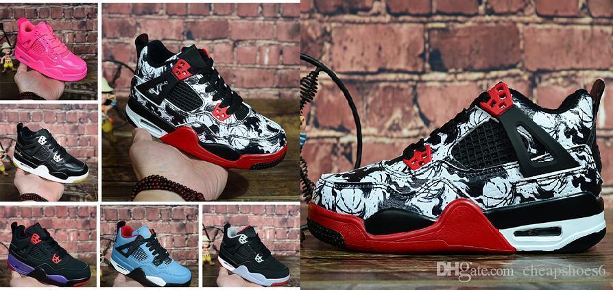 Dövme 4 Singles Gün 4s Basketbol Ayakkabıları Çocuklar Saf Para Royalty Beyaz Çimento Raptors Black Cat Getirdi Yangın Kırmızı Çocuk spor ayakkabısı Spor Sneakers