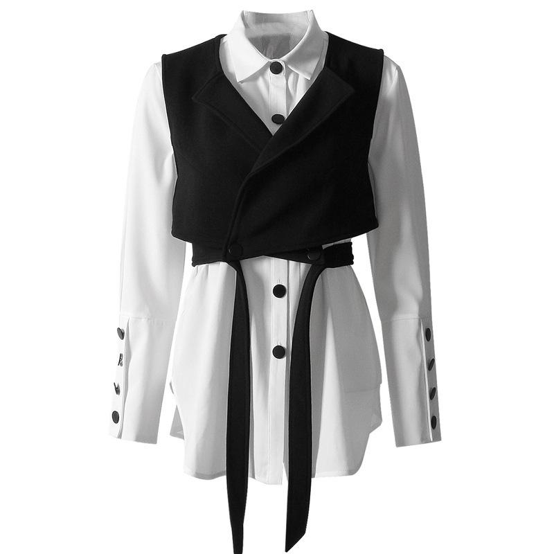 Asymsay Weißes Hemd + schwarze Weste Zwei Stück Sets Laterne Langarm Mode Shirts Schnüren Sie Kurzweste Damenhemden Set Al1320