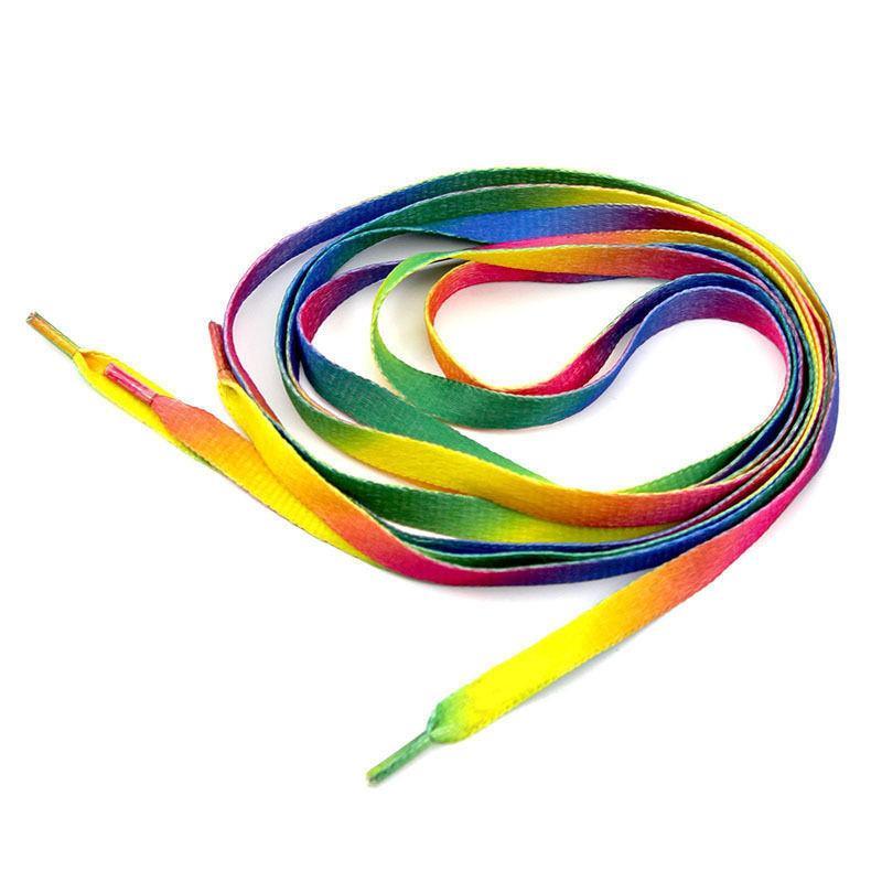 1Pair Polyester Colorful Laces Rainbow Gradient Print Flat Canvas Shoe Lace Shoes Casual Chromatic Colour Shoelaces