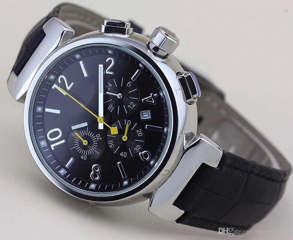 Moda e Única Mens Relógio de Pulso Cronógrafo de Quartzo Homens ao ar livre Relógios Relógio Mostrador Preto Com Marcadores de Número Branco