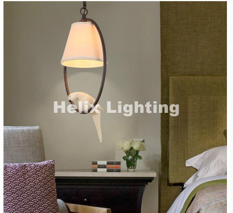 Decora Nordic LED E27 Pingente Modern D27cm Luz Lâmpada de suspensão Birds luminária Vintage Resina Pássaro Tecido abajur Para Kitchen Iluminação