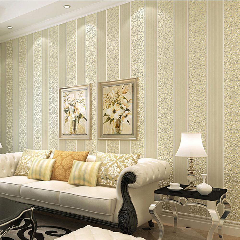 화이트 / 옐로우 / 베이지 / 핑크 / 브라운 쉬머 다마 스트라이프 벽지 침실 현대 양각 텍스처 벽 종이 롤 홈 데코