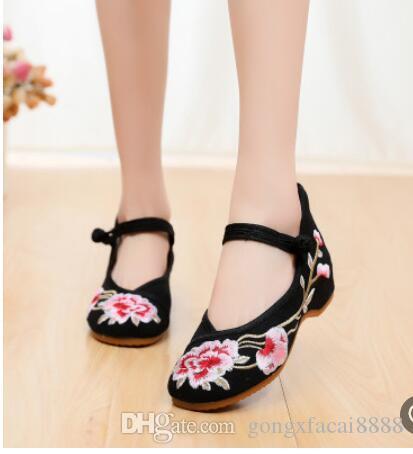 Eski stil Hanfu ayakkabı kadınlar işlemeli eski Pekin bez ayakkabı 031