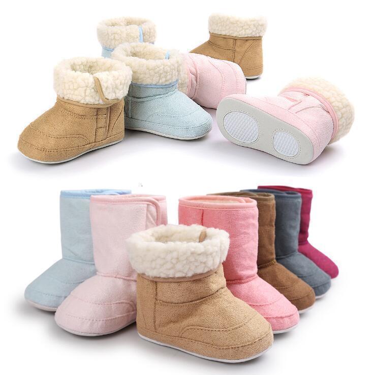 Moda Kış Süper Sıcak Yenidoğan Bebek ile Kürk İç İlk Yürüyenler Ayakkabı Bebek Boys And Girls Beşik Boots Kaymaz Mix Renk Toptan