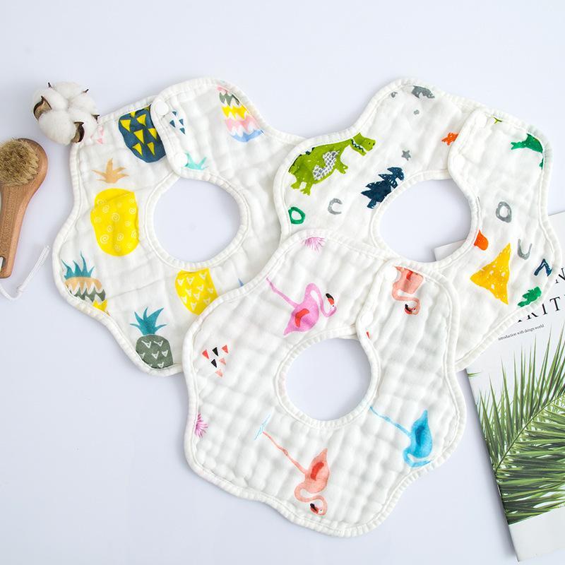 8-Layer Pure Cotton Gauze 360 Rotating Petal Bib Pinny Infants Baby Cotton Bibs