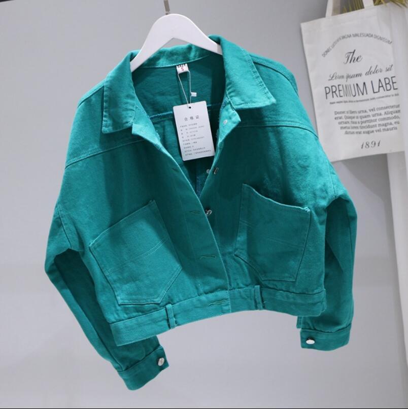 2020 Printemps et Automnes étudiants couleur pure chauve-souris à manches courtes en denim Veste Manteau eau Cowboy Washed Jeans desserrés femmes Veste
