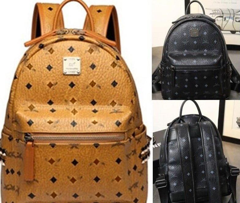 Genuine Leather High Quality Luxury men women's rivet Backpack famous Backpack Designer lady M backpacks Bags Women Men Fashion School Bags