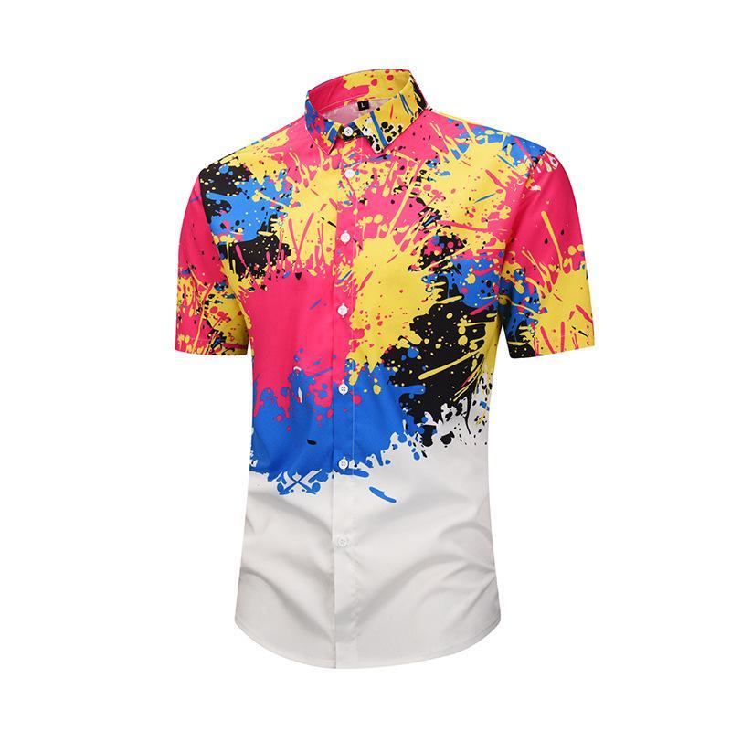2021 Mens Hipster Colorful Splash Ink Printed Hawaiian Shirt 2019 ...