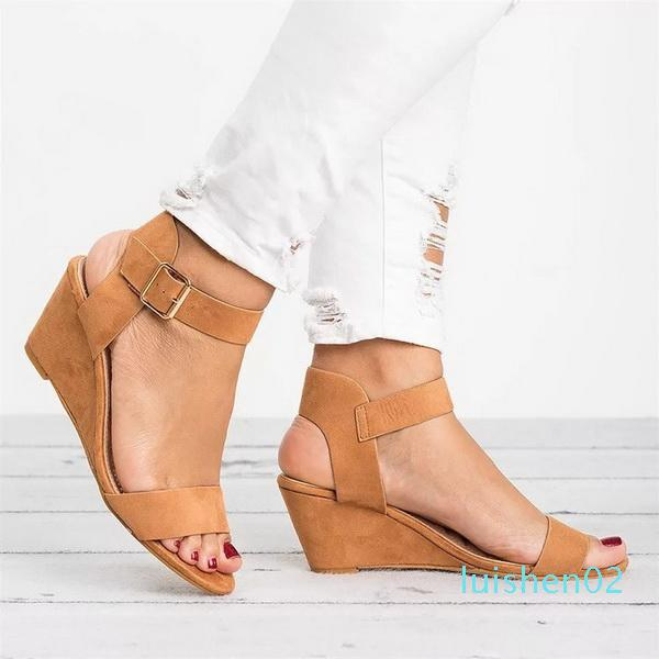 Hot Sale-New style sandals in spring and summer of 2019 Pure color buckle sandals with sloping heels l02