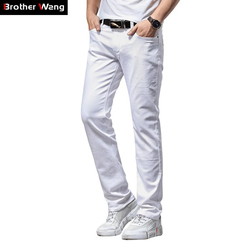 Spring and Summer Men Thin White Jeans Fashion Casual Classic Style Slim Fit Soft Trousers Male Brand Advanced Stretch Pants CX200610
