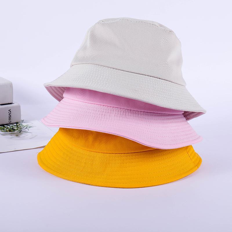 여성 패션 고체면 버킷 캡 노란색 핑크 봄 여름 낚시 모자 남여 야외 태양 보호 모자 남성 유역 chapeau