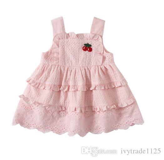 niños ropa de la muchacha del verano del vestido sin mangas bordado cereza liga del vestido de la princesa vestido de niña Diseño Ropa