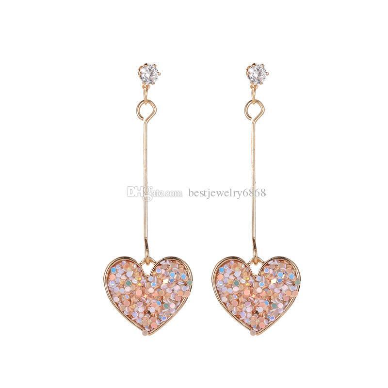 Europe and America love tassel earrings sweet mesh red wind colorful earrings fashion wild pop hanging earrings jewelry wholesale