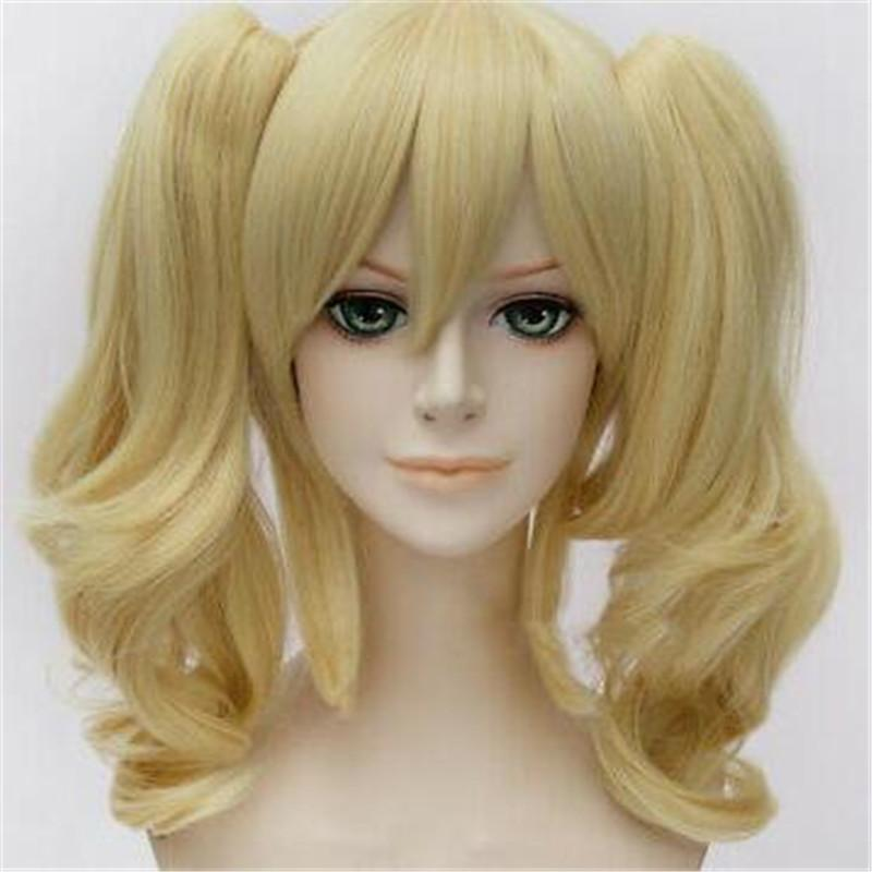 Anime pour Batman Harley Quinn Blond clair Comic cosplay perruque de cheveux + 45CM Ponytails