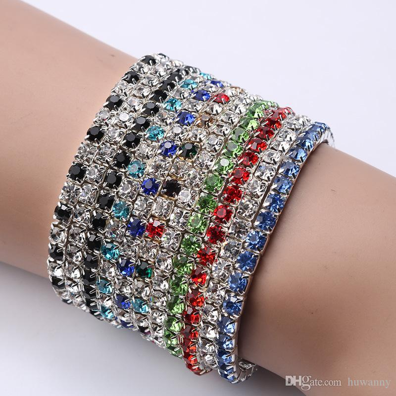 Bracelets Colorful Spring Bracelet Hot Selling 1-Row Rhinestone Crystal Elastic Bracelets Silver Tennis Fashion Jewelry Free Shipping 001GXB