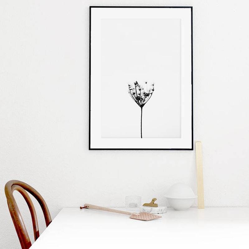 Minimalist Art Black And White Dandelion Canvas Poster , Nordic Nature Art Wall Print Dandelion Rustic Home Decor