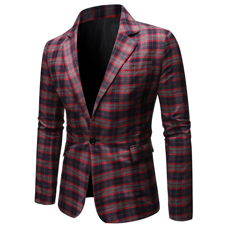 2020Spring de haute qualité Fashion Costume Casual Veste à carreaux Costume Top Casual Smart Plaid Blazer Hommes Ouest Veste Blazer Fleur