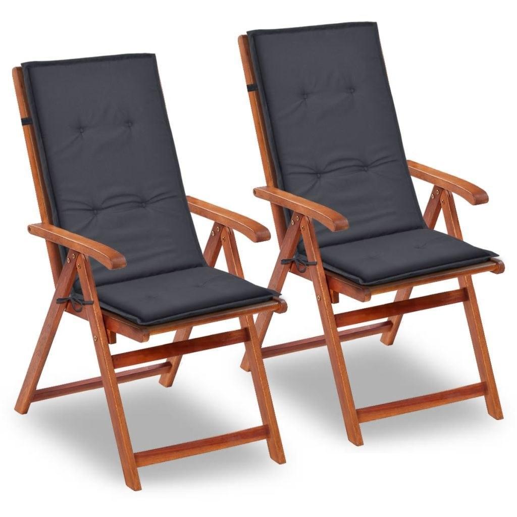 """Cadeira de jardim Almofadas 2 pcs Antracite 47,2 """"x19.7"""" x1.18"""""""