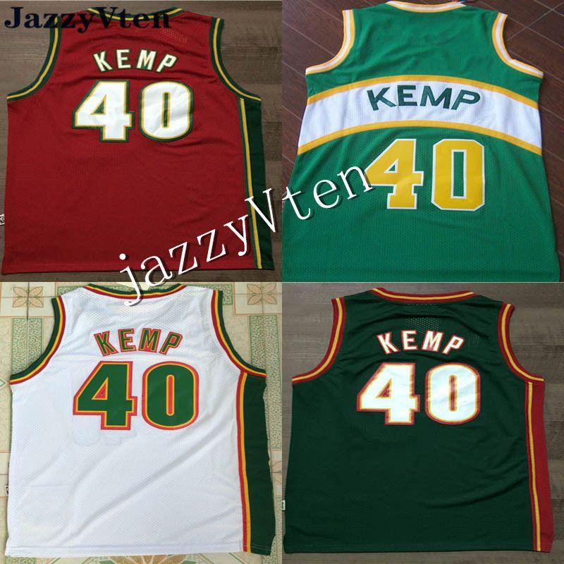 2019 yeni geldi gerileme Jersey 20 # Gary Payton Formaları, 40 # Shawn Kemp Yeşil Kırmızı Nakış Koleji retro Basketbol Forması