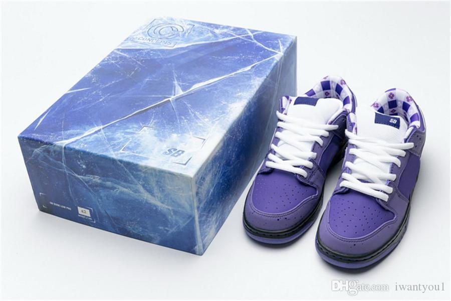 Am heißesten Konzepte x SB Dunk Low Pro OG Lila Hummer-Skateboard-Schuhe Männer Authentische Turnschuhe Rot Blau Grün Gelb mit dem Special Box US5-11