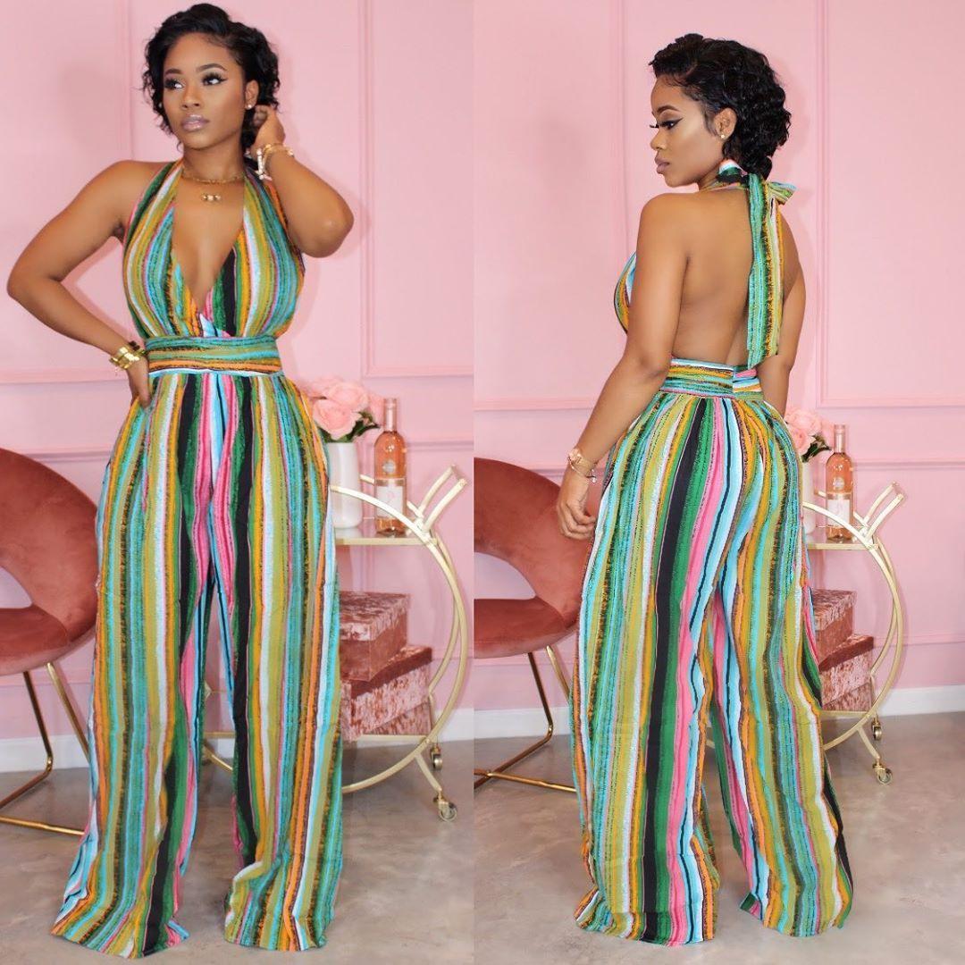 Summer Femme Jumpsuit Halter Designer Contraste Sexy couleur évider rayé imprimé barboteuses Mode Vêtements pour femmes