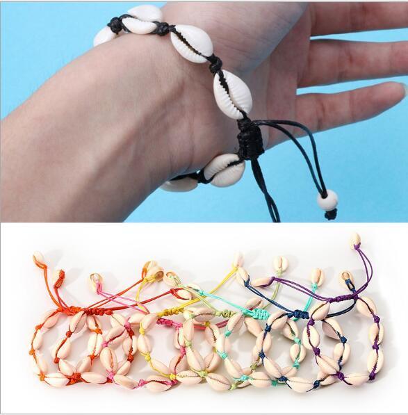 style Personalized Handmade Natural Seashell Hand Knit Bracelet Shells Bracelets Women Mens Strand Bracelets Valentine's Day gift 10 Color