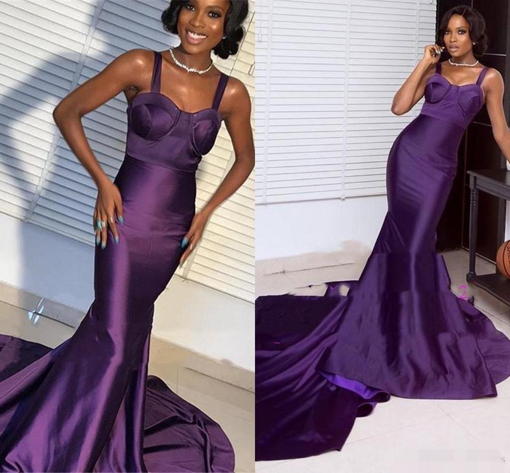 2020 raso viola Prom Dresses Mermaid cinghie sweep treno su ordine Black Girl partito degli abiti di sera della celebrità formale Abbigliamento per occasioni