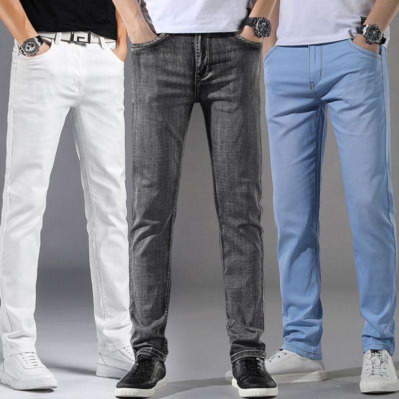 ICPANS Denim-Jeans-Mann-Sommer-dünne Stretch-gerade beiläufige Jeans für Mann Grau Blau, Weiß Herren Pant