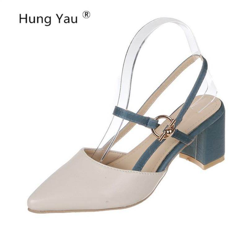 Kadınlar Sandalet Yaz Platformu Sandalet Rahat Yüksek Nal Kalın topuk Bilek Kayışı Sivri Burun Deri Bej Ayakkabı Boyut 35-39