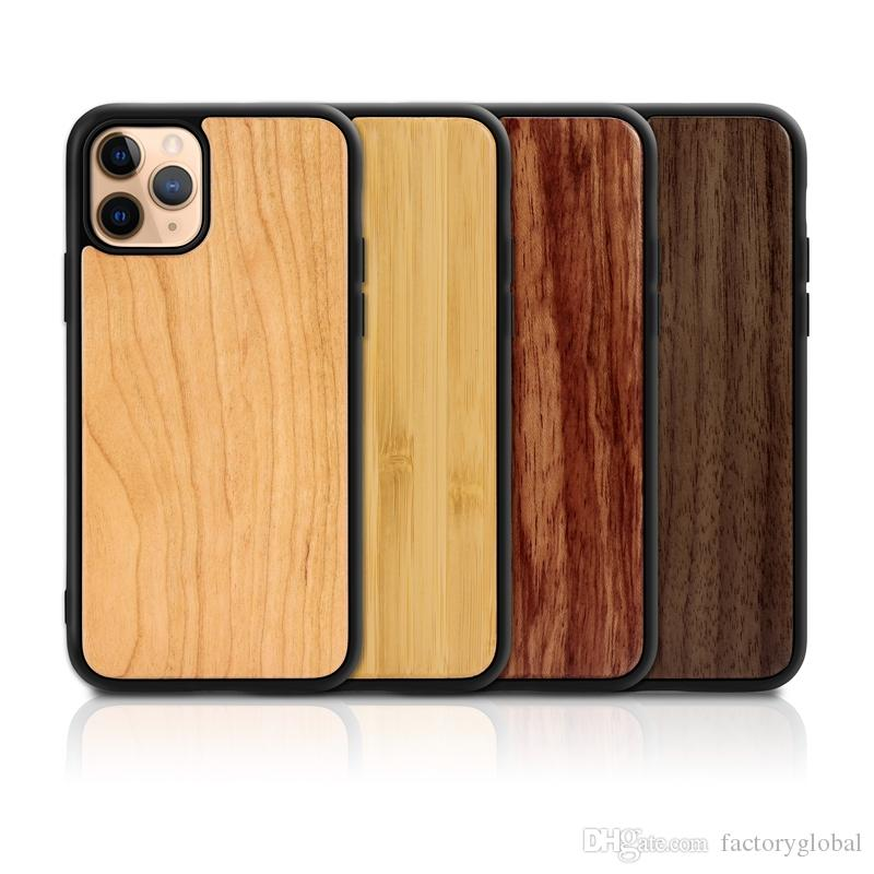 For Iphone 11 Pro Max X XS XR Max Wood Case Real Bamboo Wooden Cases Back Cover With TPU Shock-proof DHL