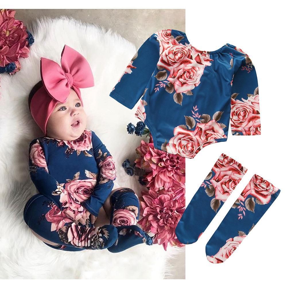 Kinderkleidung Baby Mädchen Langarm / Kurzarm Blumen Strampler Baumwolle Kleidung Kinder Säuglingskleidung Baby Mädchen Strampler mit Fußabdeckung