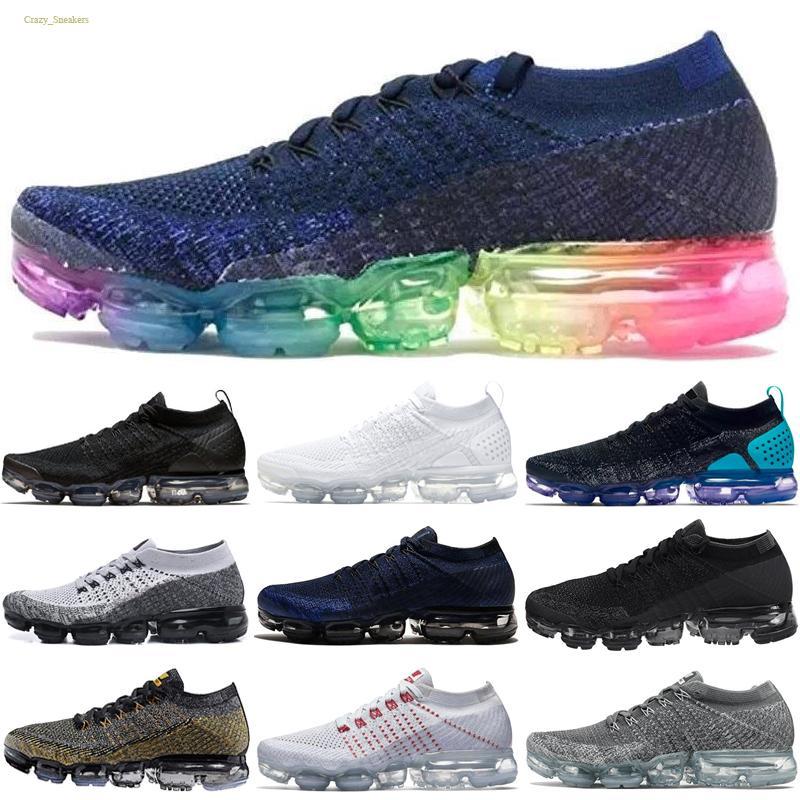 Compre Nike Flyknit Air VaporMax 2018 Hombre Del Diseñador De Los Zapatos  Corrientes De 2018 Hombres Casual Cojín De Aire Triples Negro Blanco ...