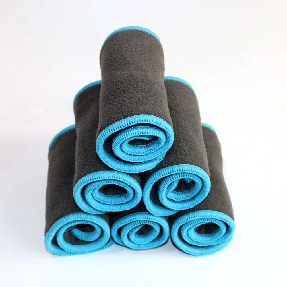 500 pcs reutilizável carvão bambu inserir fraldas de pano fraldas inserções com forro de cor azul