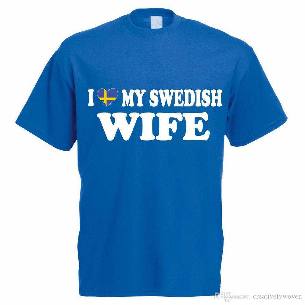 Scandinavian Sweden I LOVE MY SWEDISH WIFE Funny Themed Men/'s T-Shirt