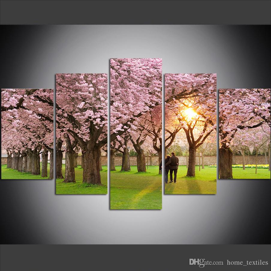 5 Piece Large Size Canvas Wall Art Pictures Creative Spring Park Petals Cherry Blossom Couple Art Print Oil Painting for Living Room
