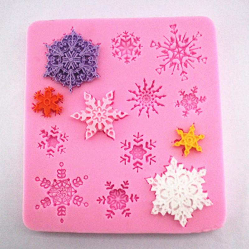 High quality Snowflake Shape 1 pc Cake Mold Silicone Fondant Mold Sugar Craft Cake Decorating Snowflake Christmas Silicone Fondant Mold