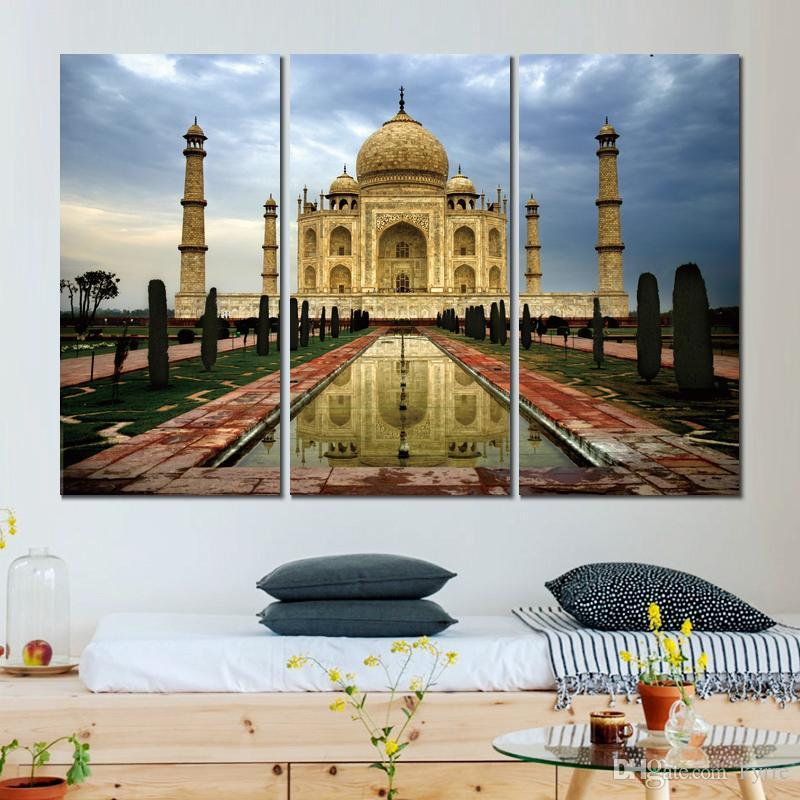 india city agra taj mahal 3 sets art poster painting print on canvas for home decoration
